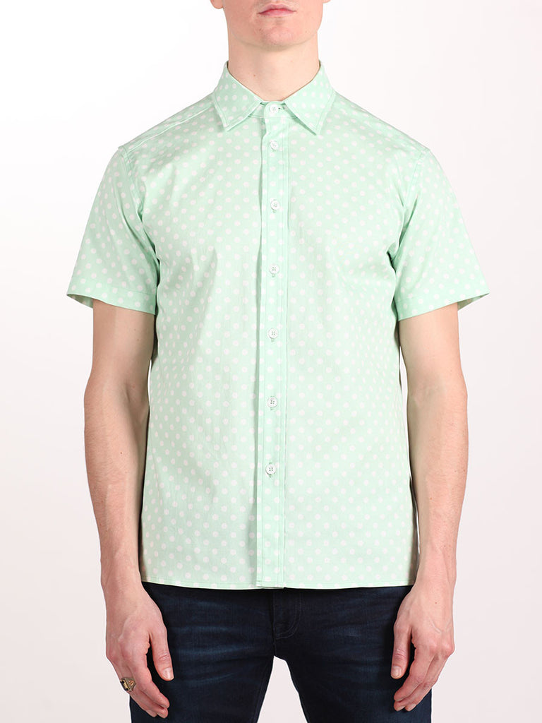 WORKSHOP COTTON SHORT SLEEVE SHIRT IN MINT POLKA DOT PRINT