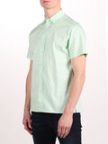 WORKSHOP COTTON SHORT SLEEVE SHIRT IN MINT POLKA DOT PRINT  - 2