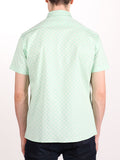WORKSHOP COTTON SHORT SLEEVE SHIRT IN MINT POLKA DOT PRINT  - 3