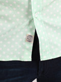 WORKSHOP COTTON SHORT SLEEVE SHIRT IN MINT POLKA DOT PRINT  - 4