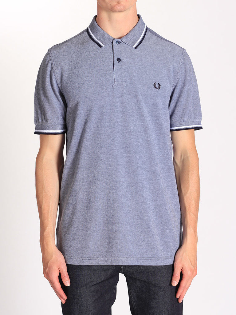 FRED PERRY TWIN TIPPED POLO SHIRT IN CARBON BLUE OXFORD  - 1