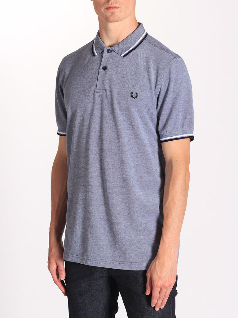 FRED PERRY TWIN TIPPED POLO SHIRT IN CARBON BLUE OXFORD  - 2