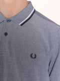 FRED PERRY TWIN TIPPED POLO SHIRT IN CARBON BLUE OXFORD  - 4