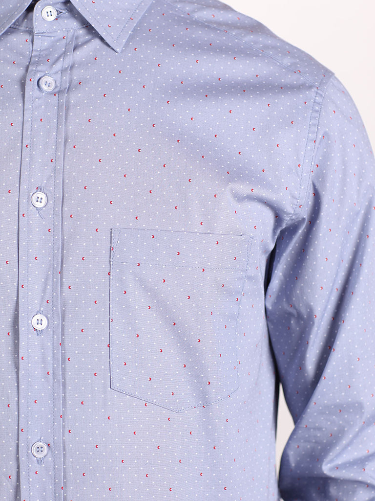 WORKSHOP COTTON BUTTON UP SHIRT IN BLUE AND RED DOTTED PRINT  - 4