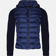 C.P. COMPANY KNIT SLEEVE DOWN PUFFER JACKET IN BLUEPRINT