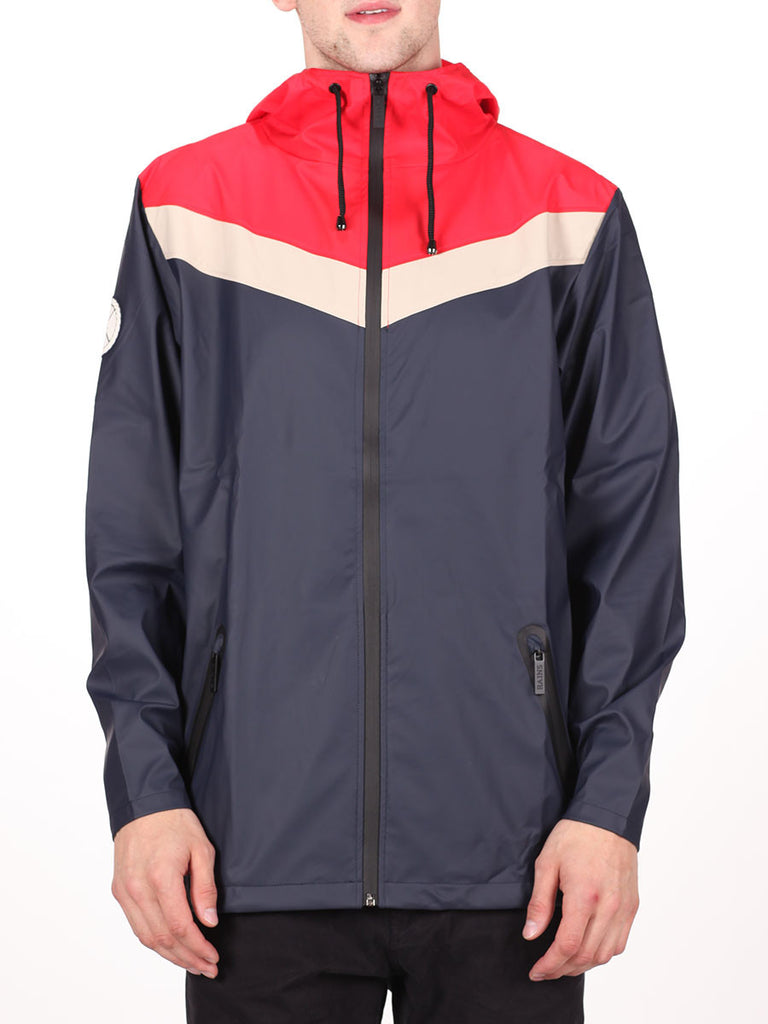 RAINS X LE FIX BREAKER JACKET IN RED/BEIGE/NAVY  - 1