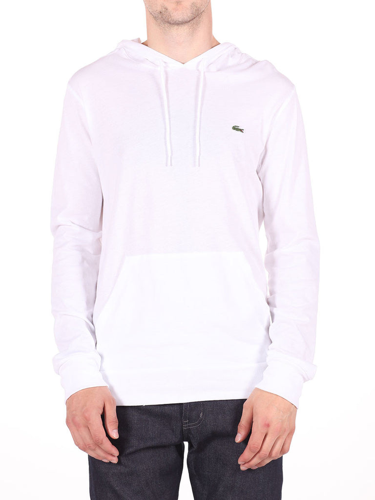 LACOSTE LIGHT-WEIGHT PULL-OVER HOODY IN WHITE  - 1