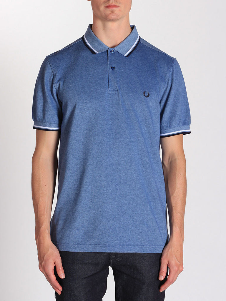FRED PERRY TWIN TIPPED POLO SHIRT IN PACIFIC OXFORD  - 1