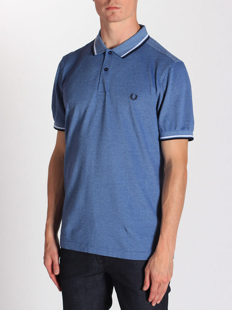 FRED PERRY TWIN TIPPED POLO SHIRT IN PACIFIC OXFORD  - 2