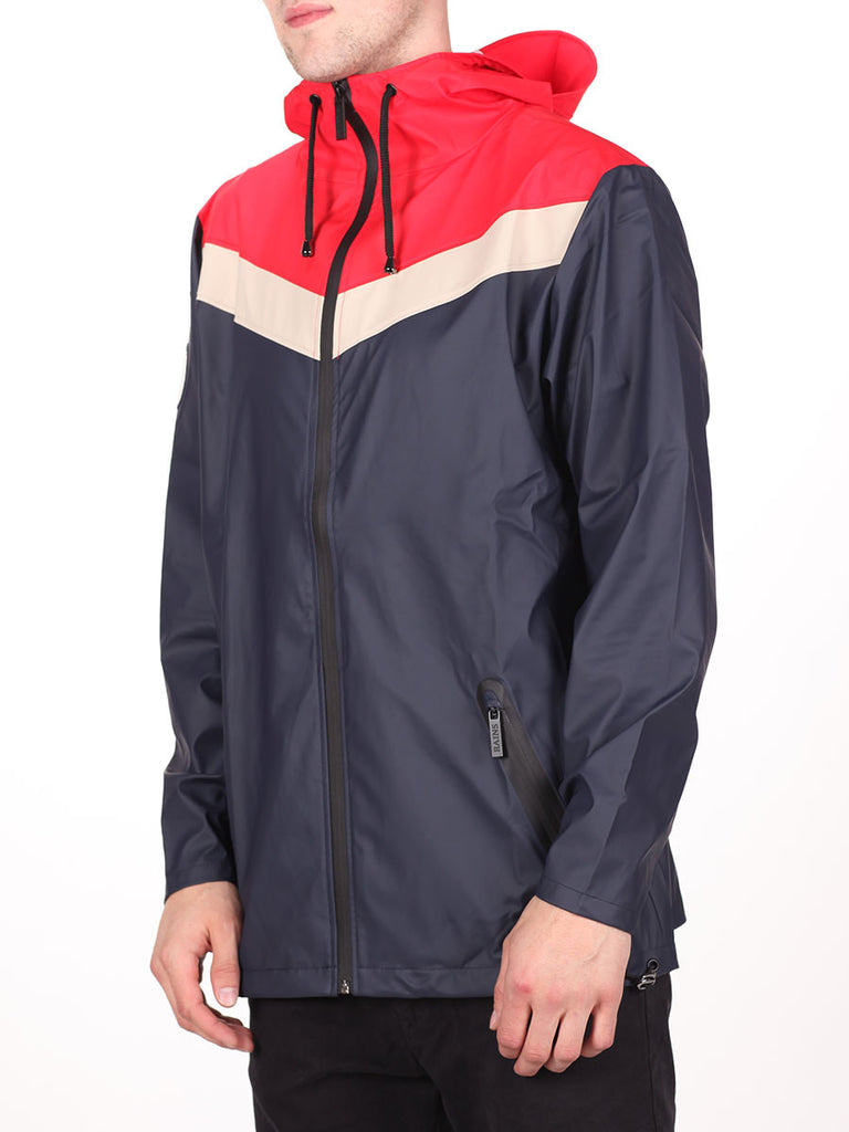 RAINS X LE FIX BREAKER JACKET IN RED/BEIGE/NAVY  - 2