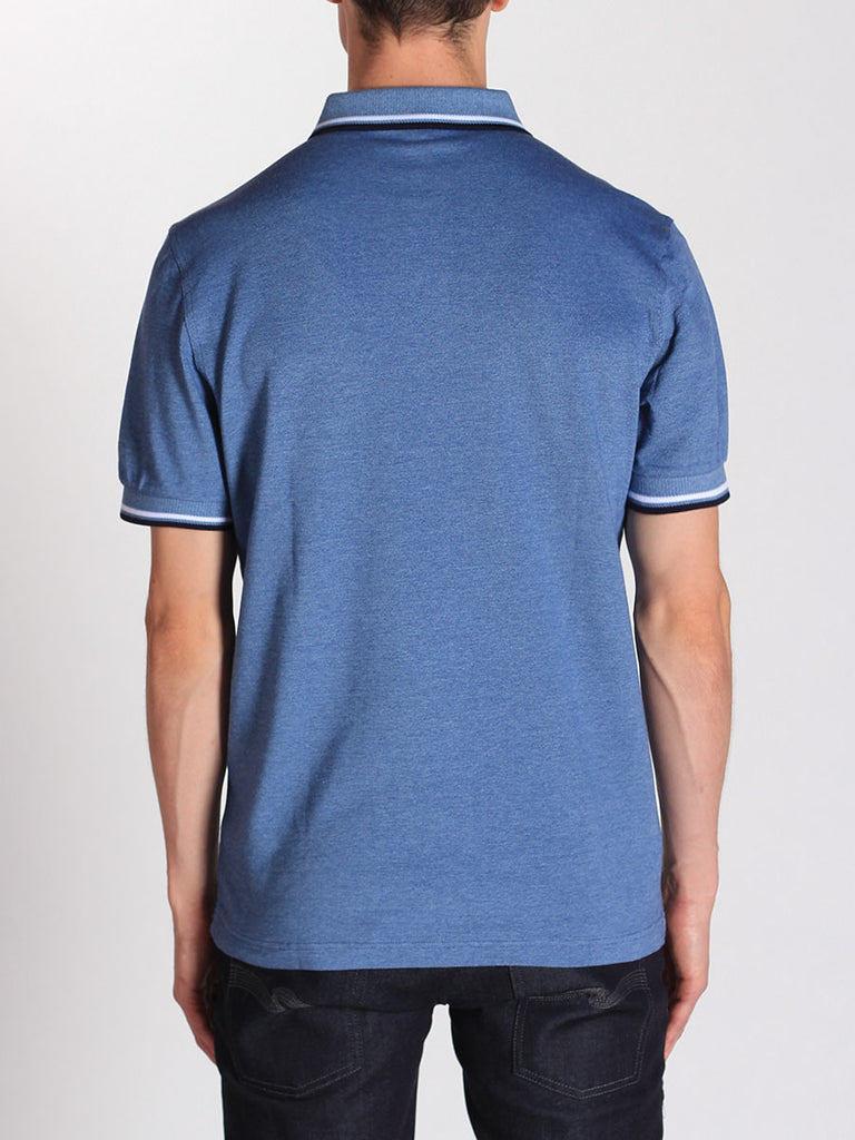 FRED PERRY TWIN TIPPED POLO SHIRT IN PACIFIC OXFORD  - 3