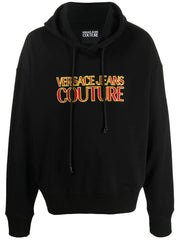 VERSACE JEANS COUTURE LOGO HOODIE IN BLACK