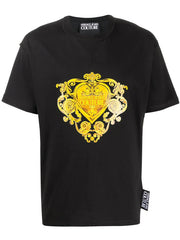 VERSACE JEANS COUTURE BAROQUE JEWELS PRINT LOGO T-SHIRT IN BLACK