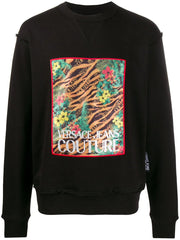 VERSACE JEANS COUTURE JUNGLE PRINT SWEATSHIRT IN BLACK