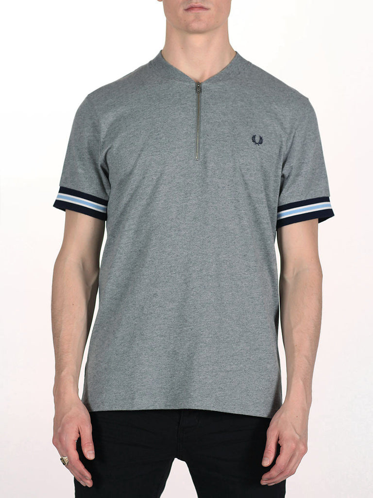 FRED PERRY BOMBER NECK ZIP POLO T-SHIRT IN STEEL MARLE  - 1