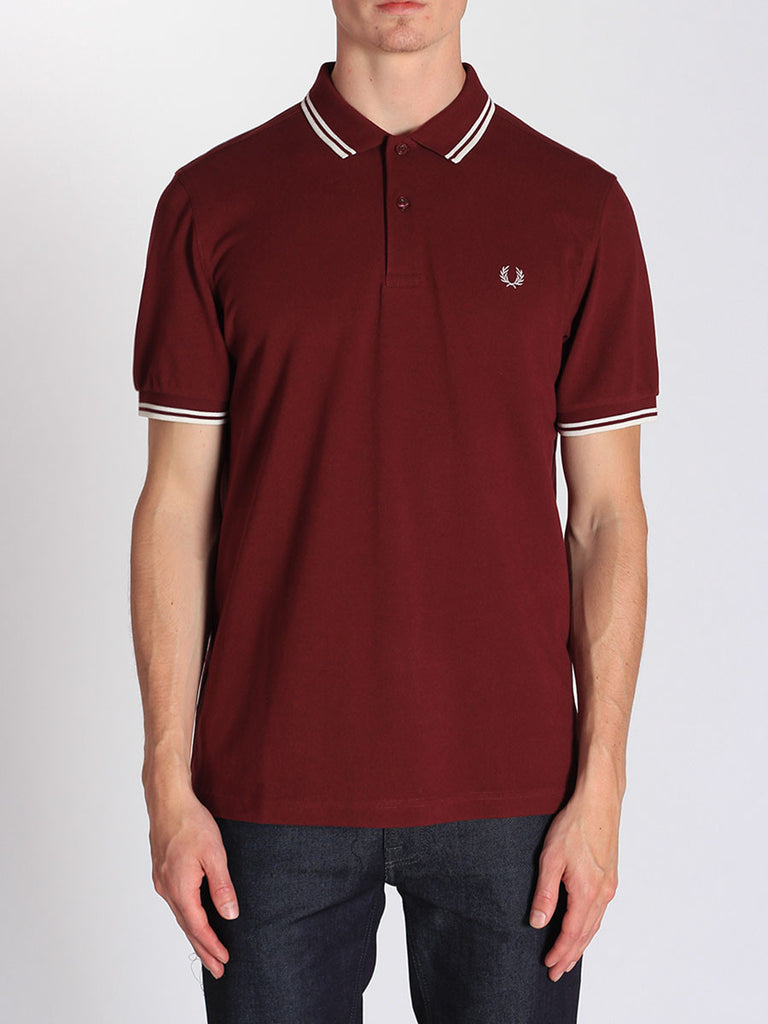 FRED PERRY TWIN TIPPED POLO SHIRT IN PORT  - 1
