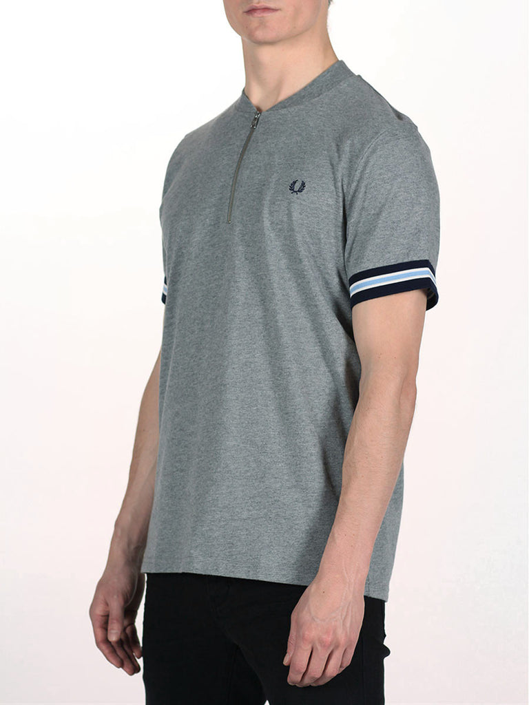 FRED PERRY BOMBER NECK ZIP POLO T-SHIRT IN STEEL MARLE  - 2