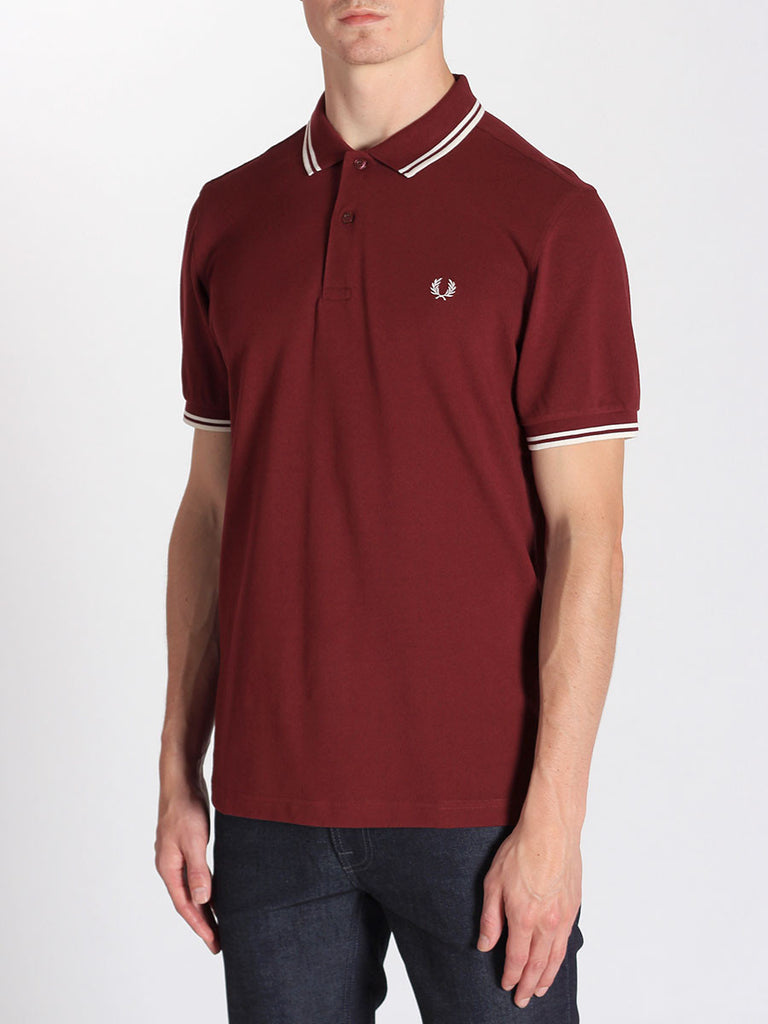 FRED PERRY TWIN TIPPED POLO SHIRT IN PORT  - 2