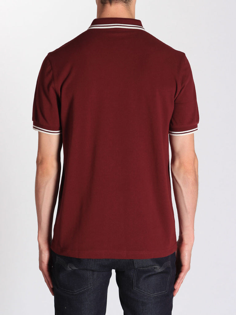 FRED PERRY TWIN TIPPED POLO SHIRT IN PORT  - 3