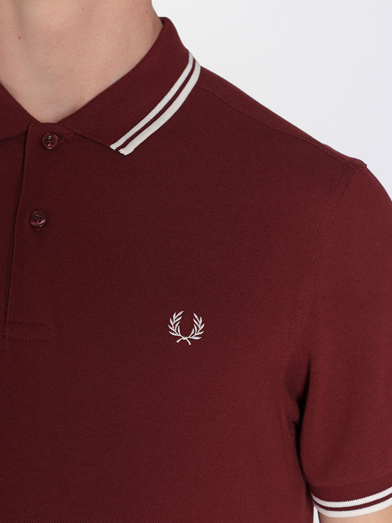 FRED PERRY TWIN TIPPED POLO SHIRT IN PORT  - 4