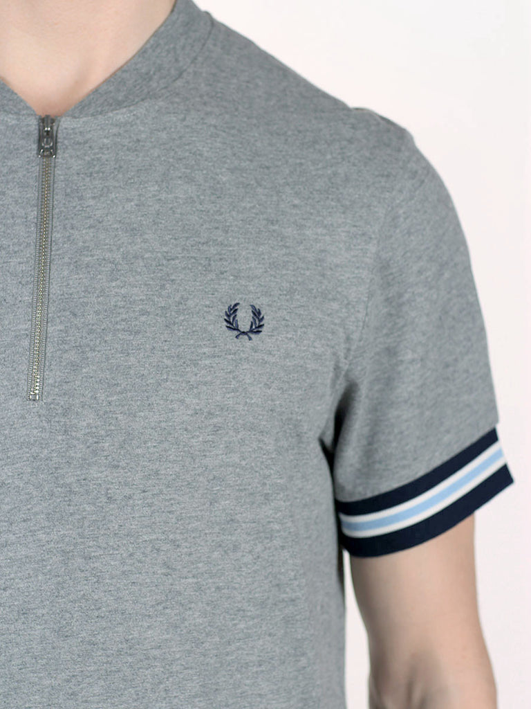 FRED PERRY BOMBER NECK ZIP POLO T-SHIRT IN STEEL MARLE  - 4