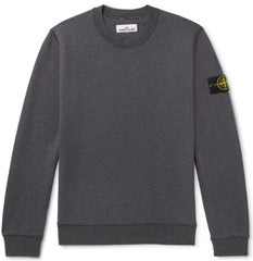 STONE ISLAND CREWNECK SWEATSHIRT IN MELANGE DARK GREY