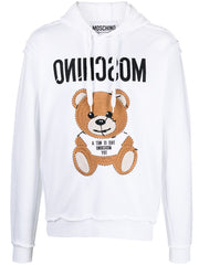 MOSCHINO INSIDE OUT TEDDY BEAR HOODIE IN WHITE