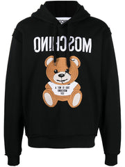 MOSCHINO INSIDE OUT TEDDY BEAR HOODIE IN BLACK