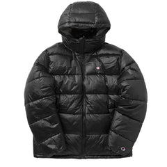 CHAMPION REVERSE WEAVE CRINKLE NYLON PUFFER JACKET IN BLACK