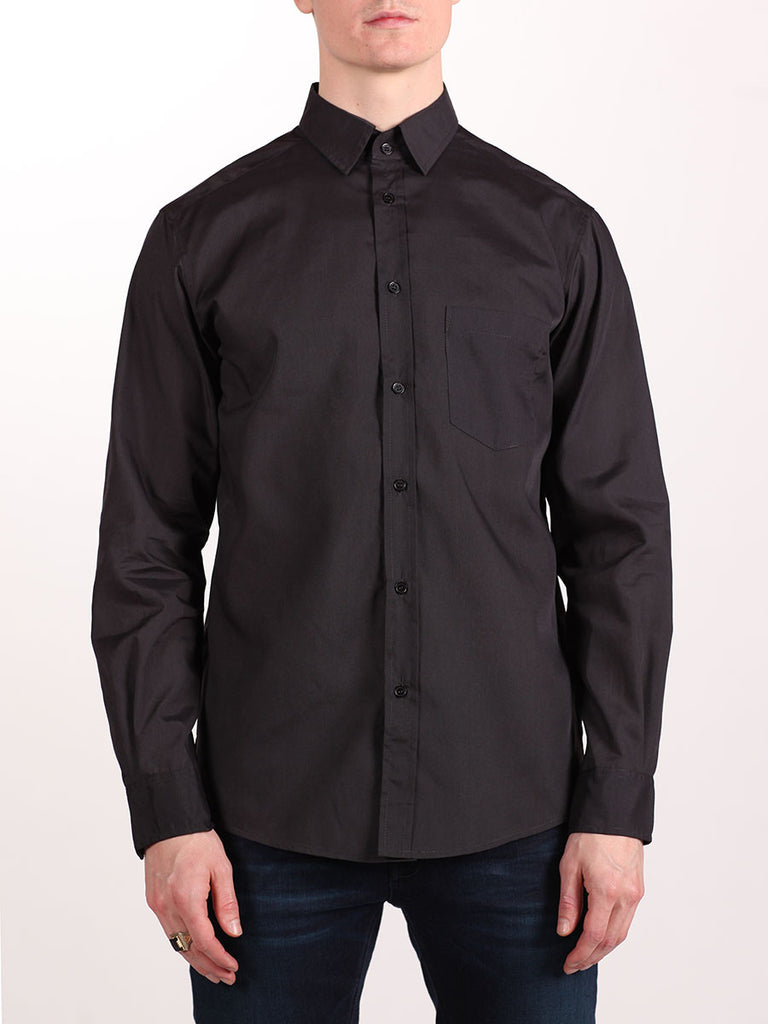 WORKSHOP COTTON BUTTON UP SHIRT IN DARK GREY  - 1