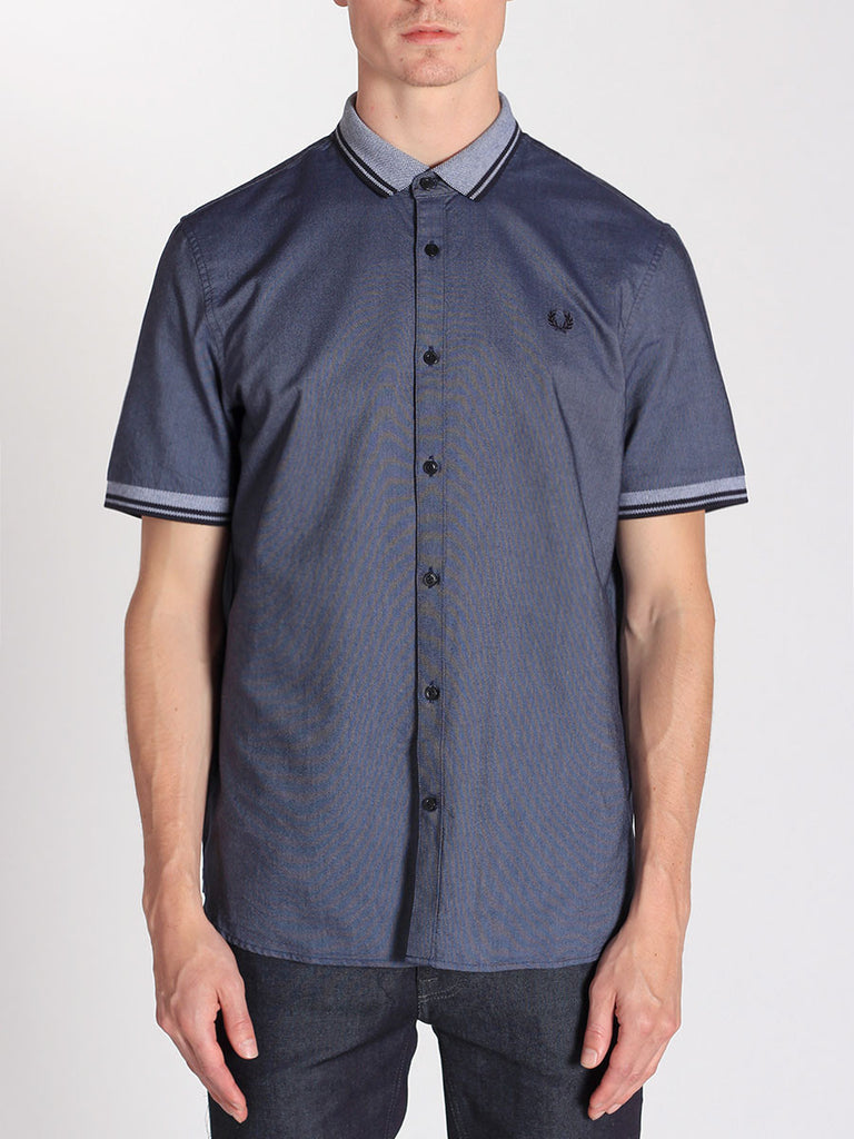 FRED PERRY FLAT KNIT COLLAR OXFORD SHIRT IN DARK CARBON OXFORD  - 1
