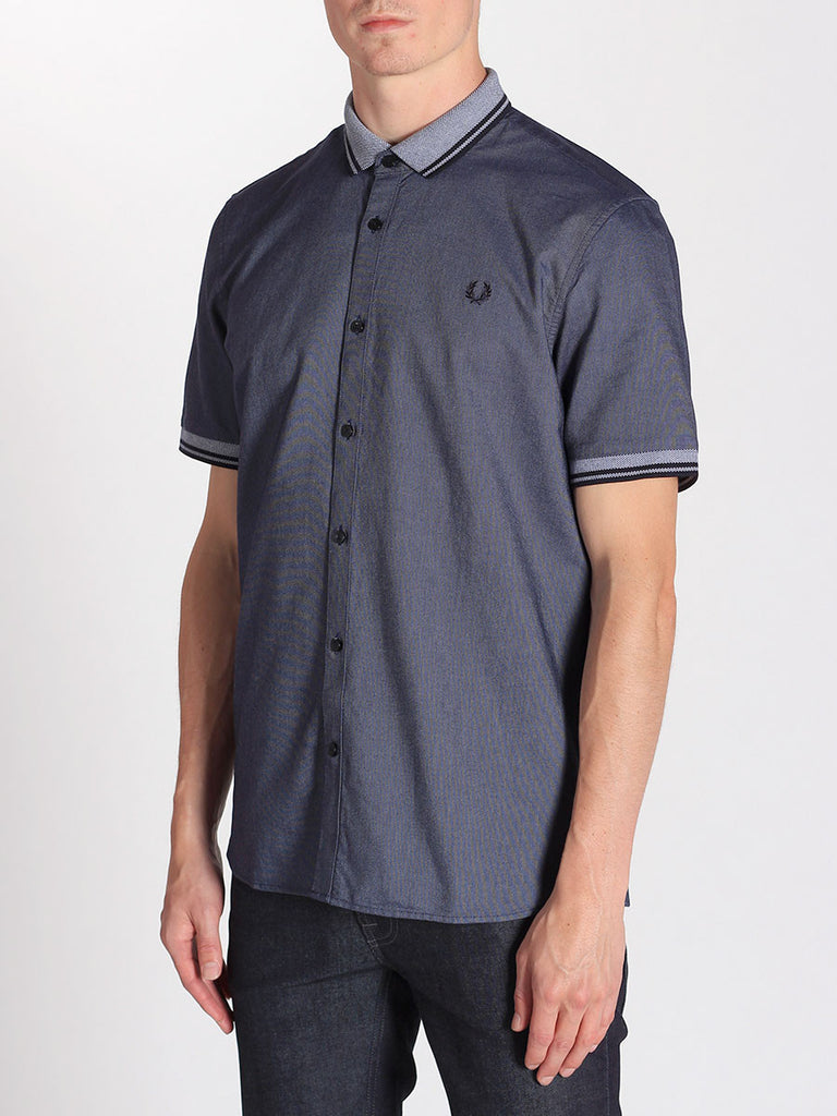 FRED PERRY FLAT KNIT COLLAR OXFORD SHIRT IN DARK CARBON OXFORD  - 2