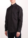 WORKSHOP COTTON BUTTON UP SHIRT IN DARK GREY  - 2