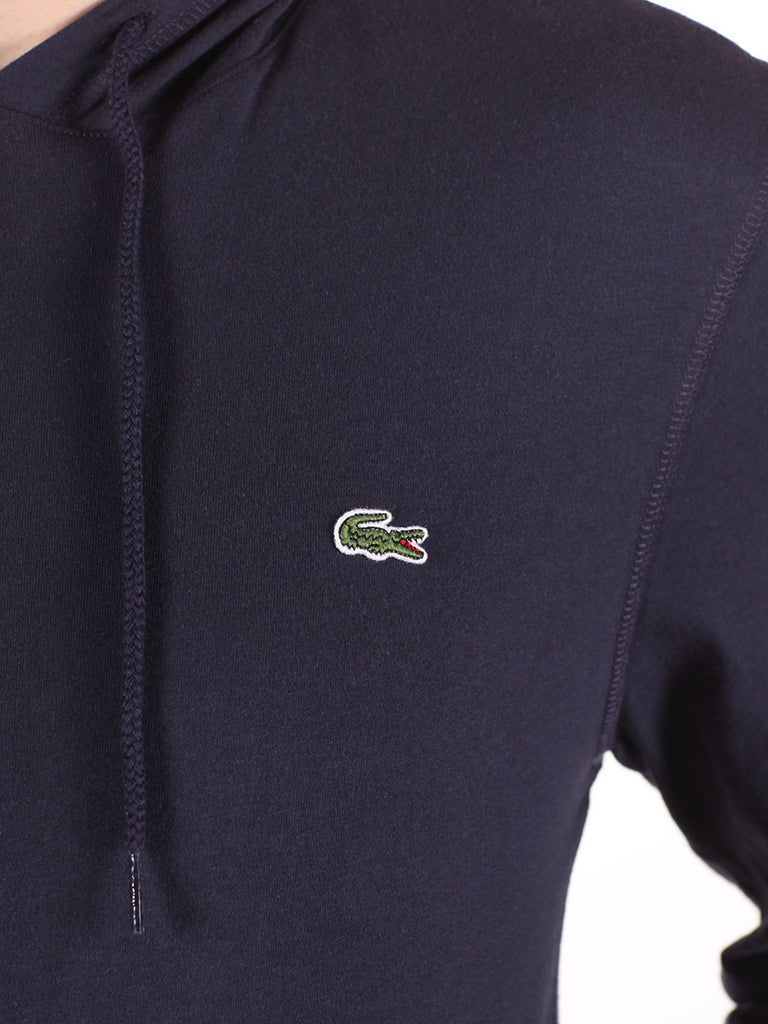 LACOSTE LIGHT-WEIGHT PULL-OVER HOODY IN NAVY  - 4