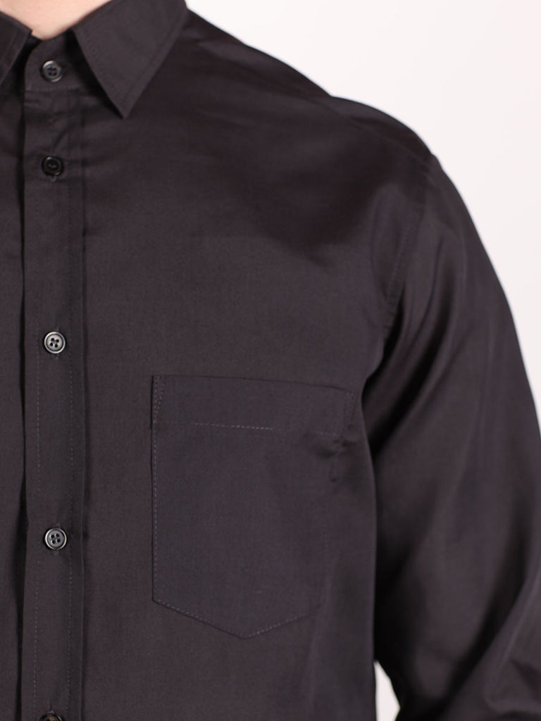 WORKSHOP COTTON BUTTON UP SHIRT IN DARK GREY  - 4