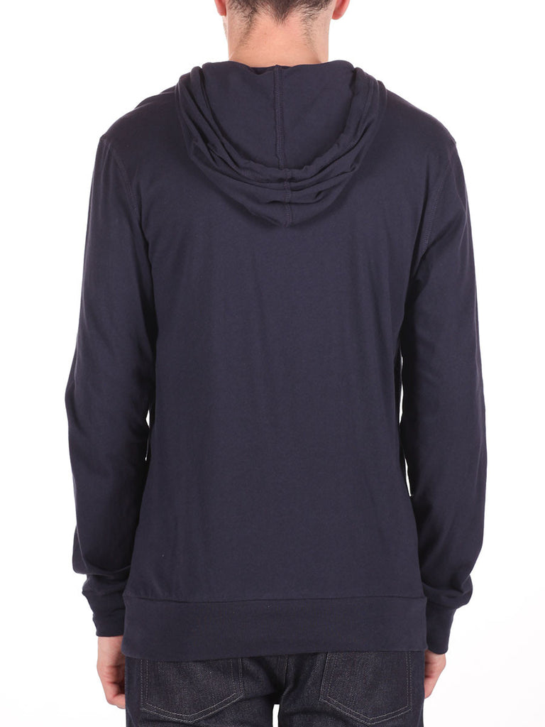 LACOSTE LIGHT-WEIGHT PULL-OVER HOODY IN NAVY  - 3