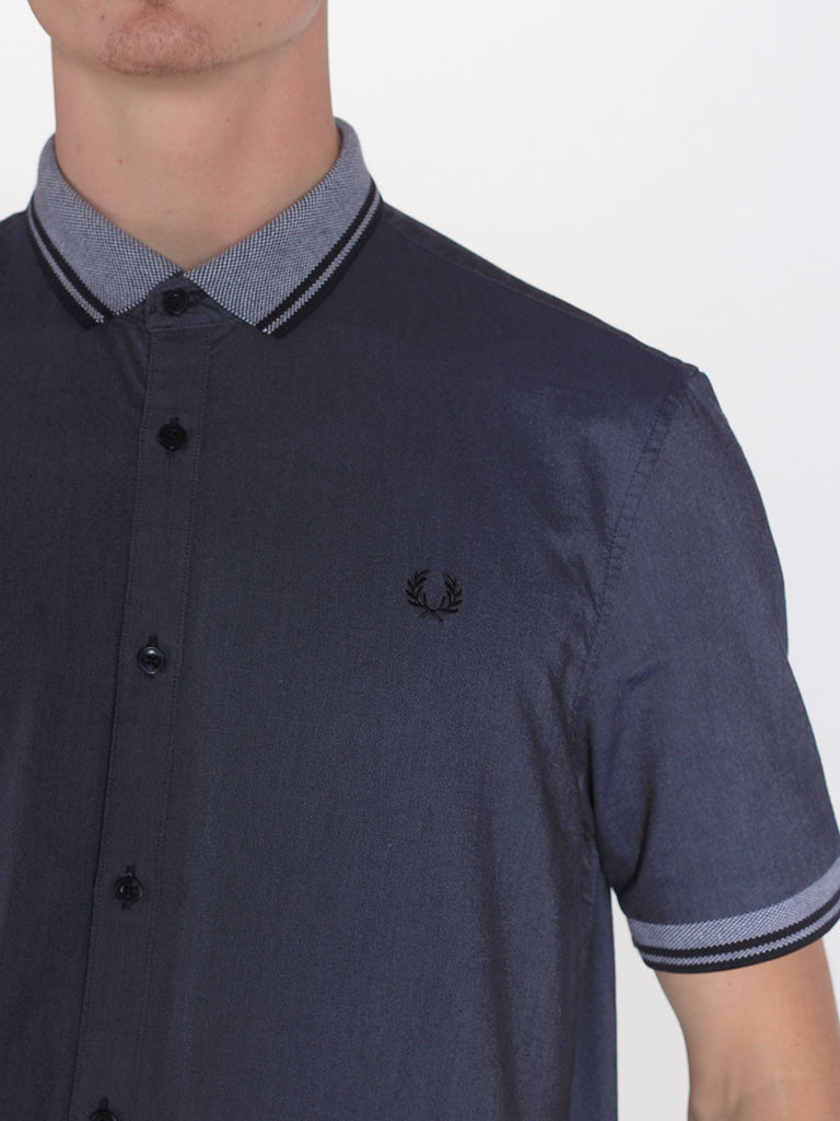 FRED PERRY FLAT KNIT COLLAR OXFORD SHIRT IN DARK CARBON OXFORD  - 4