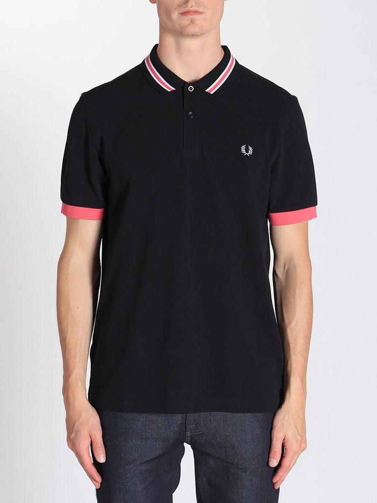 FRED PERRY BOMBER STRIPE COLLAR SHIRT IN BLACK  - 1