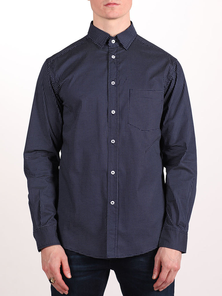 WORKSHOP COTTON BUTTON UP SHIRT IN NAVY BLUE AND CROSS PRINT  - 1