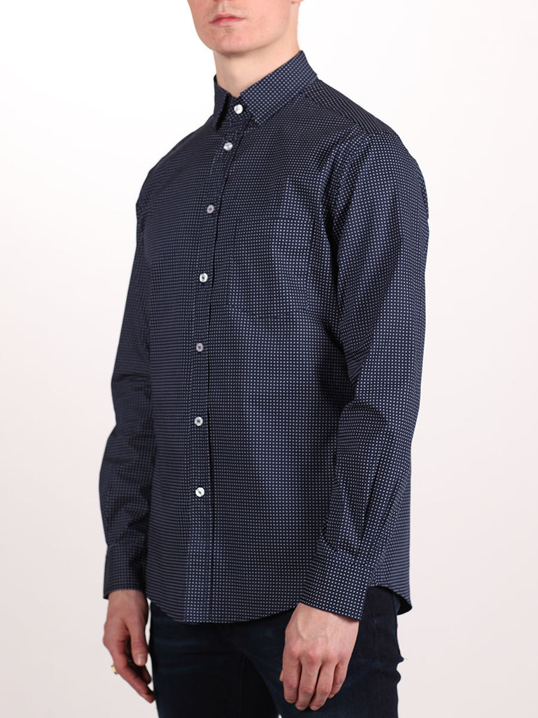 WORKSHOP COTTON BUTTON UP SHIRT IN NAVY BLUE AND CROSS PRINT  - 2