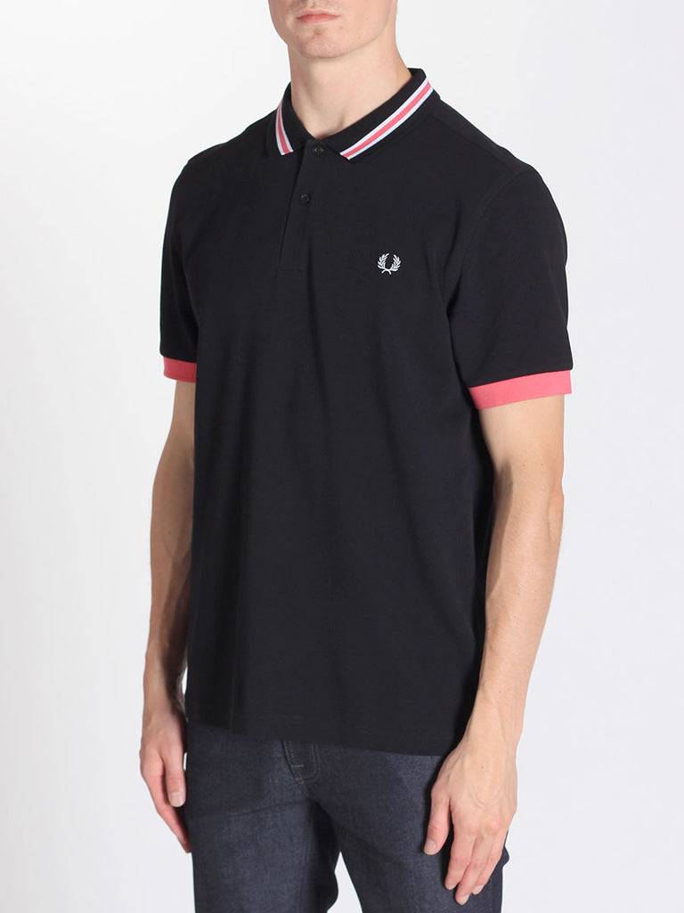 FRED PERRY BOMBER STRIPE COLLAR SHIRT IN BLACK  - 2