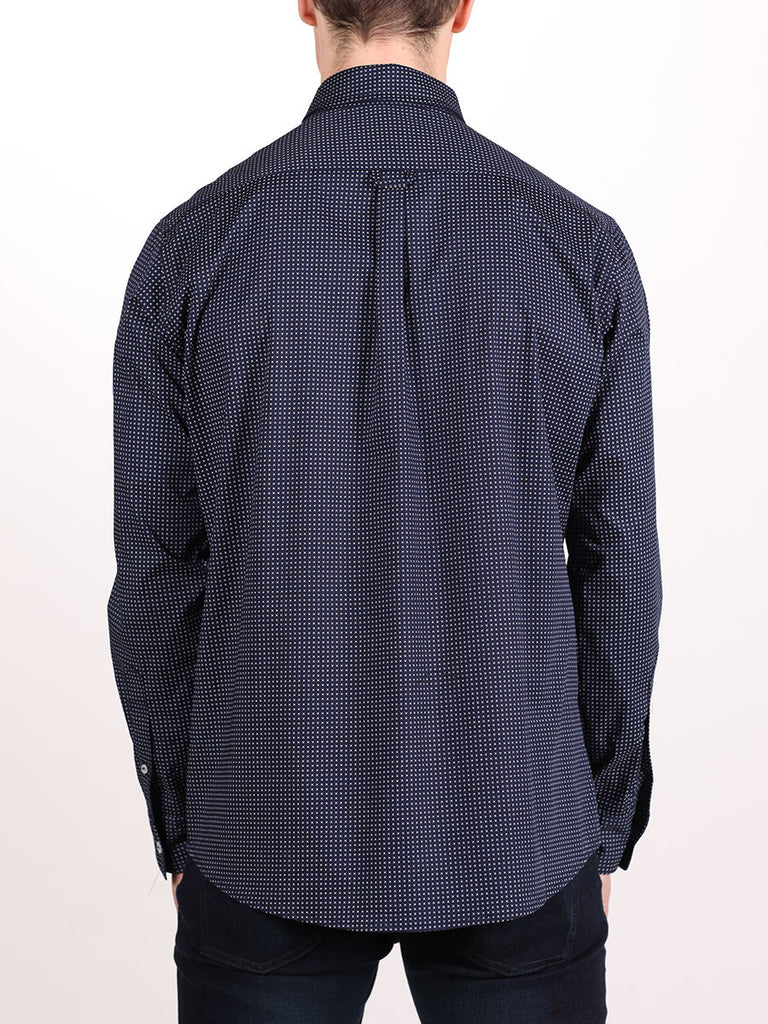 WORKSHOP COTTON BUTTON UP SHIRT IN NAVY BLUE AND CROSS PRINT  - 3
