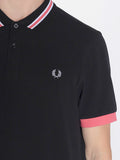 FRED PERRY BOMBER STRIPE COLLAR SHIRT IN BLACK  - 4