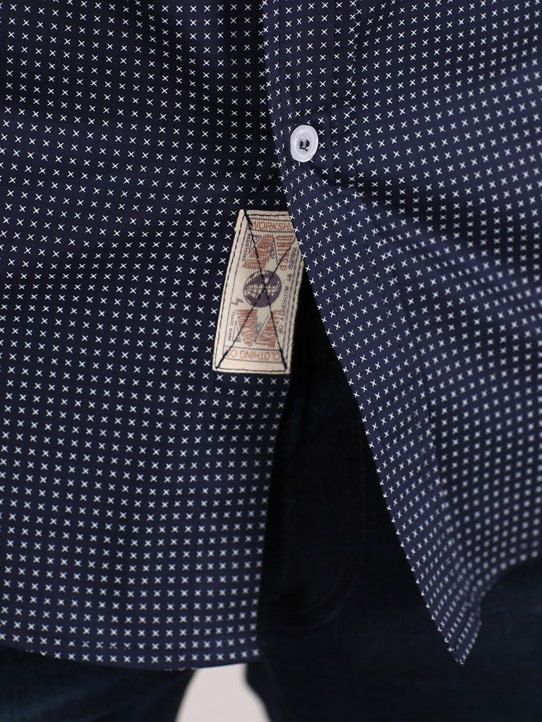 WORKSHOP COTTON BUTTON UP SHIRT IN NAVY BLUE AND CROSS PRINT  - 5