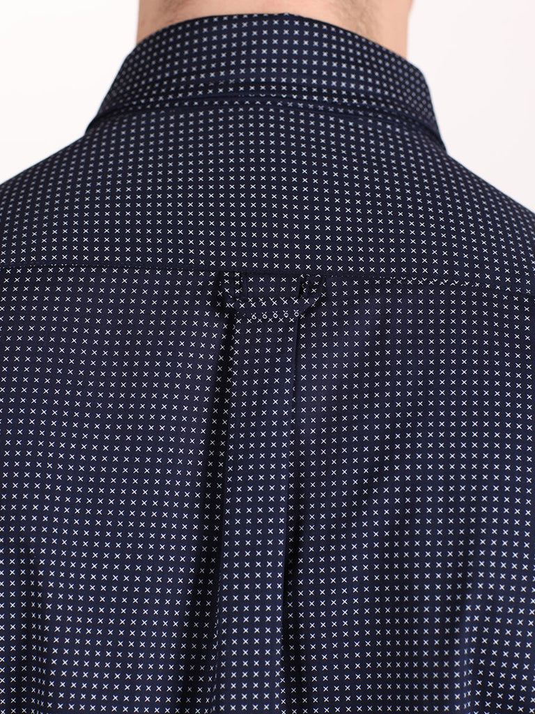 WORKSHOP COTTON BUTTON UP SHIRT IN NAVY BLUE AND CROSS PRINT  - 6