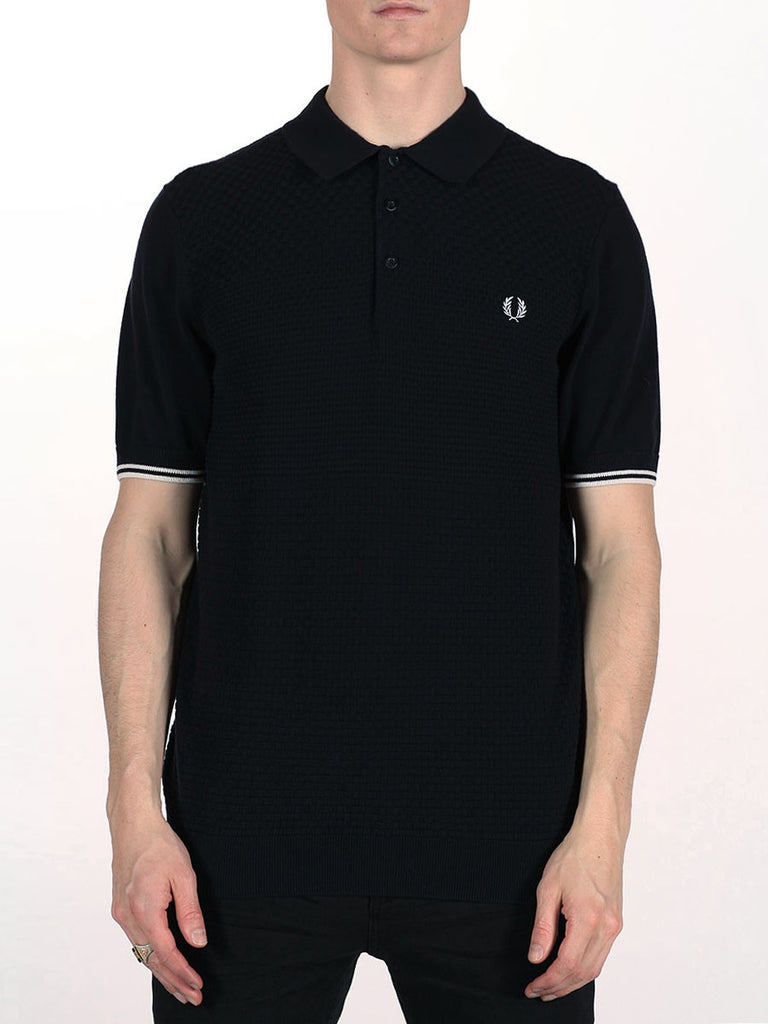 FRED PERRY TEXTURED KNITTED PIQUE SHIRT IN NAVY  - 1