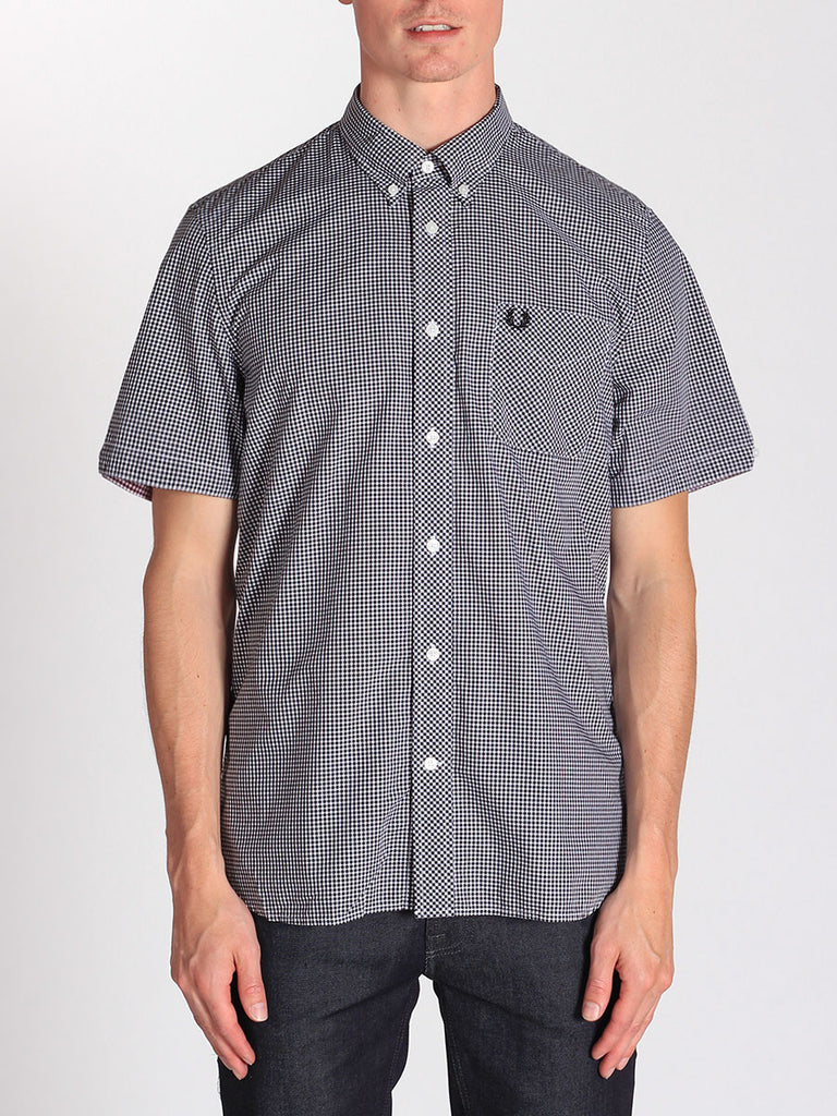 FRED PERRY CLASSIC GINGHAM SHIRT IN BLACK  - 1