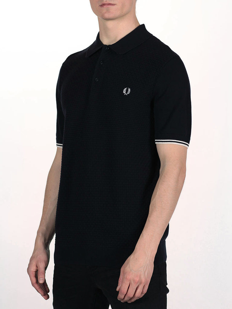 FRED PERRY TEXTURED KNITTED PIQUE SHIRT IN NAVY  - 2