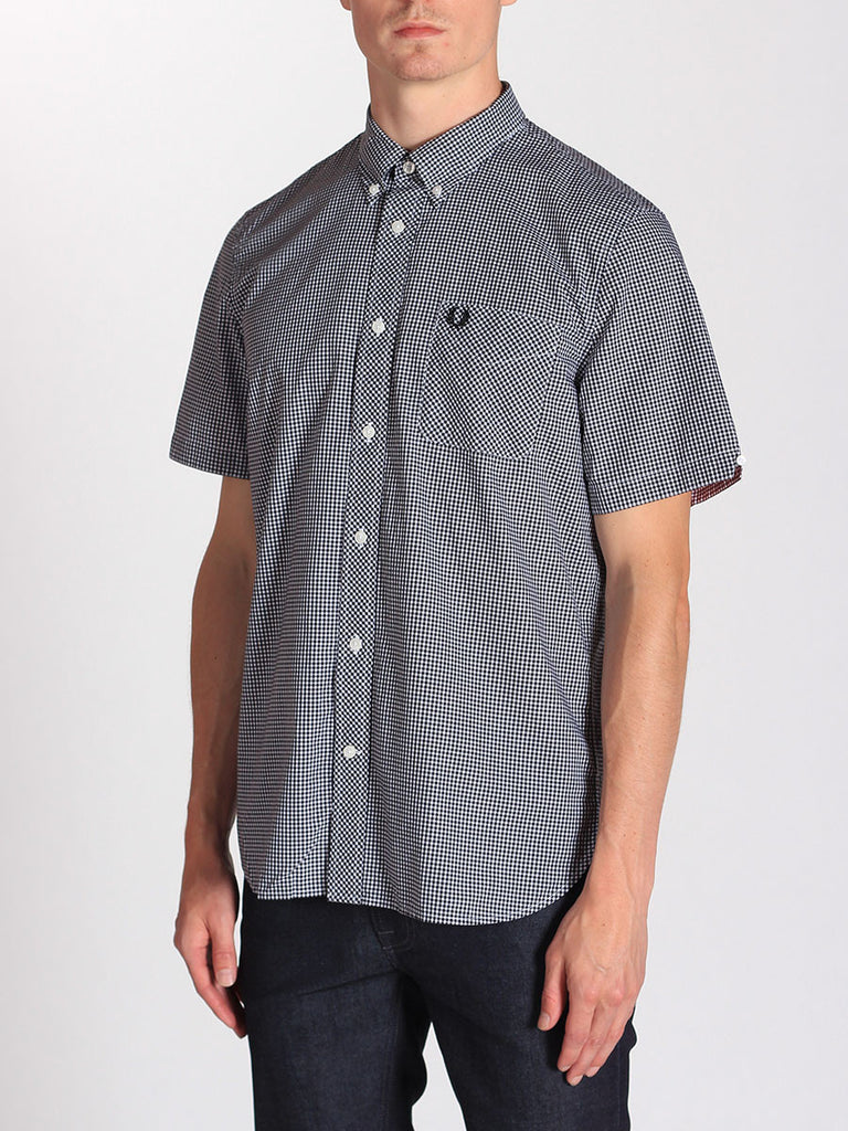 FRED PERRY CLASSIC GINGHAM SHIRT IN BLACK  - 2