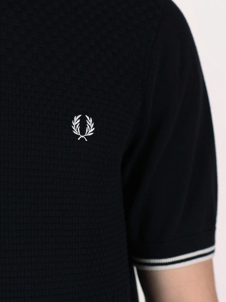FRED PERRY TEXTURED KNITTED PIQUE SHIRT IN NAVY  - 4